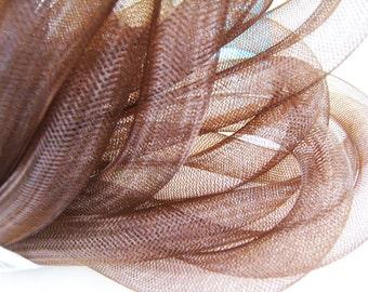 1 Yards of Brown Horsehair ( Cringe )  Tube Crinoline for Hair Accessories ( 15mm Width )
