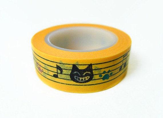 Washi Tape - Kitten and Staff Notation Pattern (10m)