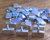 925 sterling silver rectangular endcap 6 x 10 x 2 mm for DIY bracelet price for 10 pieces endcap