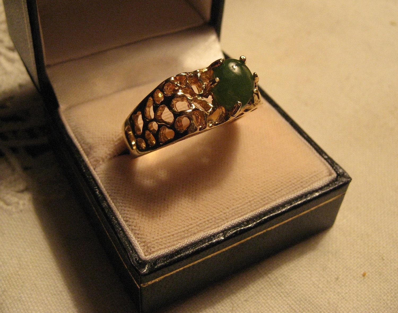 vintage 18k gold hge mens ring emerald by pnpvintagegeneral