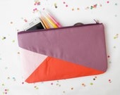 "Clutch 6""X10"" color block geometric in lilac and orange"
