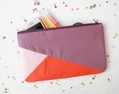 "Clutch 6""X10"" color block geometric in lilac and orange"