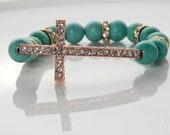 Charm Beaded Bracelet Stretch with Semi-Precious Stones & Swarovski Pave Cross