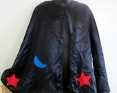 Vintage Black Satin Cape with Felt Moons, Stars, and Lightning Bolts. Unisex Costume Piece. Wizard, Witch, Magician, Sorcerer