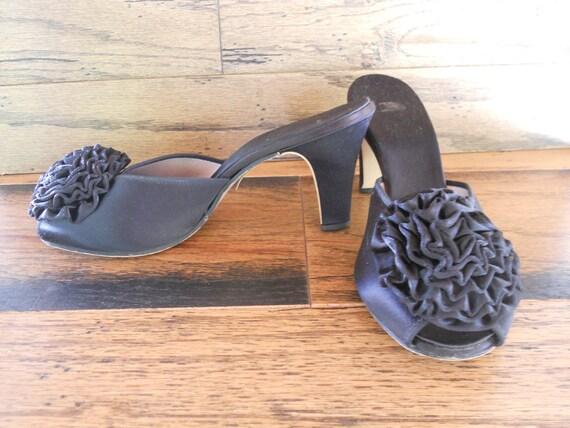 Peep Toe Black Satin Mule Slides Boudoir Shoes Size 6