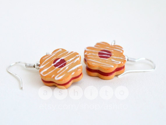 Strawberry Jam Cookie Earrings - Polymer Clay