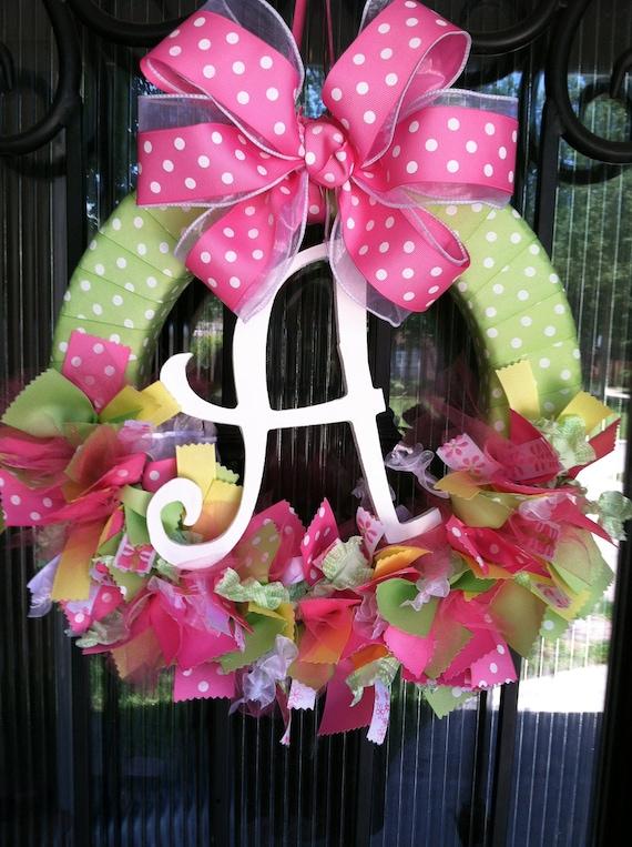 Items similar to baby ribbon wreath nursery hospital for Baby boy hospital door decoration