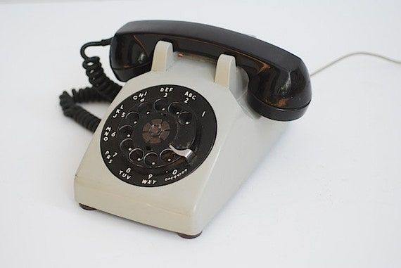 Vintage Rotary Dial Desk Phone, Custom Phone, Vintage Rotary Phone, Prop For Photo Shoot, Grey Retro Phone