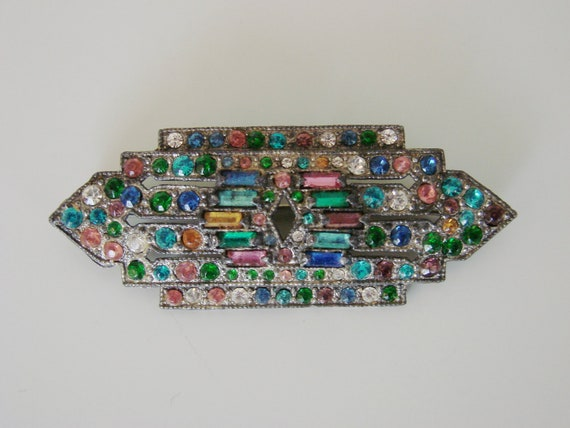 Reserved for Deb Art Deco Multi-Jeweled Pot Metal Brooch (C. 1930s)