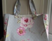 Floral tote bag handmade Clarke and Clarke English rose fabric