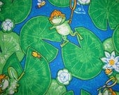 Frogs on Lilypads fabric (s&h incl)