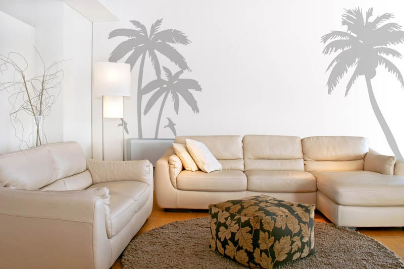 Palm trees wall decals stickers sea birds beach by looksbetter for Beach wall mural decals