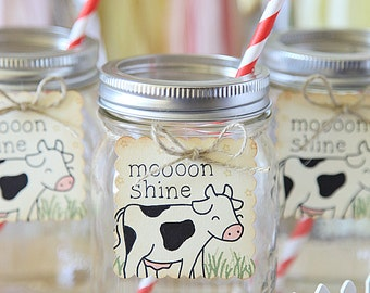 Farm theme, Birthday Party, Moon Shine, Hay there, Barn, Mason Jar tags, 12 per set