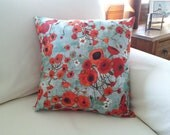Poppies on Teal 18""