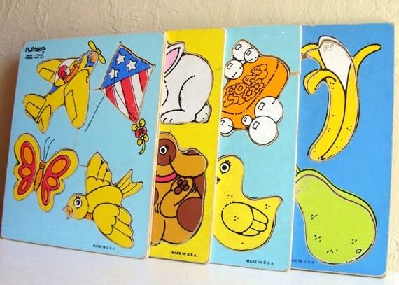 Six 6 Vintage Wooden Wood Puzzles Playskool Colorful Preschool Play