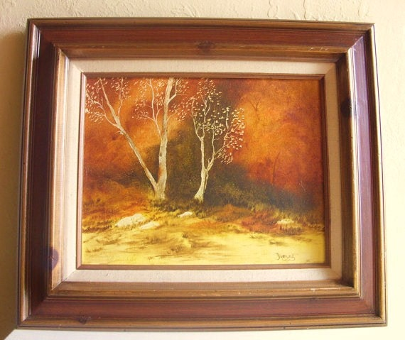 Wood Framed Canvas Painting Nature Scene Signed Art