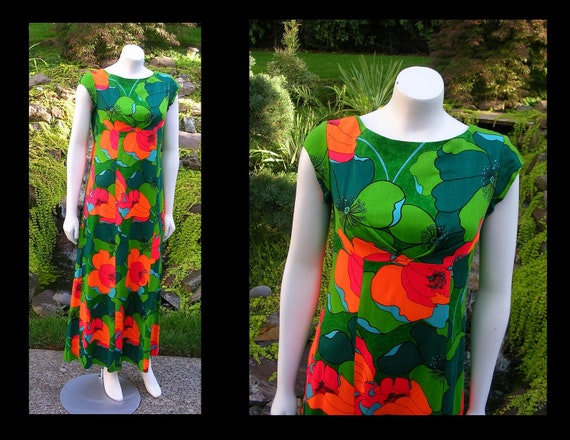 Vintage 1960s Lauhala Hawaii Maxi Dress Back Drape Sundress Unique Green Red Orange Blue