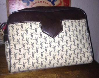 Sale!! Vintage Yves St Laurent Bag Purse Clutch Logo Print Great Condition Pouch Shaving Make Up