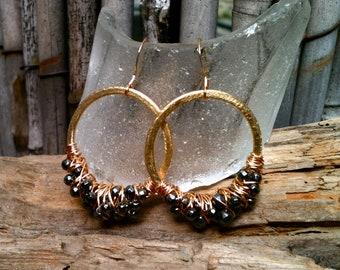 Robyn Earrings / Wire Wrapped Hoops & Hematite
