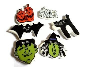 Halloween Buttons Witch Frankenstein Bat Ghost Black Cat Ceramic Buttons (6)