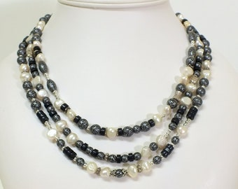 Necklace of Three Random Strands Black, Silver Beads and Pearls