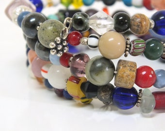 Memory Wire Beaded  Bangle  Wrap Bracelet