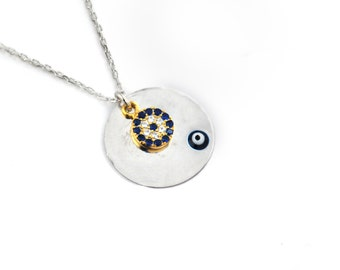 Free Domestic Shipping Sterling Silver Gold Color Evil Eye Necklace Two Tone, Evil Eye, Blue, Simple, Unique, Design, Silver, Gold, Necklace