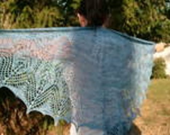 Lace shawl, crescent shape, with beads. Ice blue.