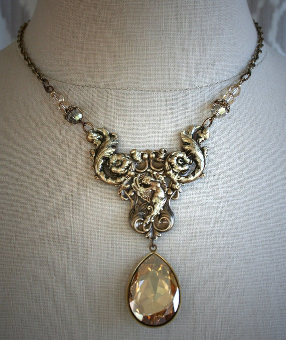 GOLDEN WINGS romantic vintage fantasy inspired angel  necklace with Swarovski crystal, free gift boxing