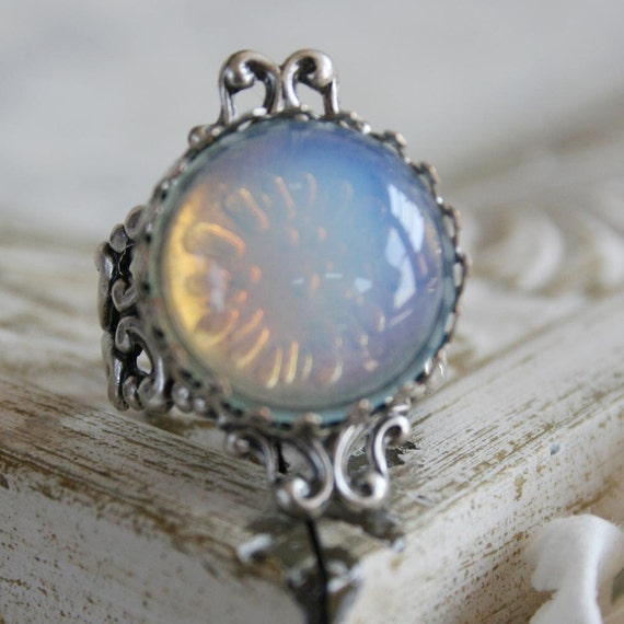 BEAUTIFUL MOON Victorian fantasy cocktail ring with vintage glass focal and antiqued silver details, free gift boxing