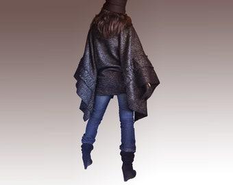 Oversize Wool Woman Poncho /  XXL XXXL Cape Coat Poncho / Italian Wool Poncho Coat/ Plus Size Winter Poncho/ Turtle Neck Winter Poncho