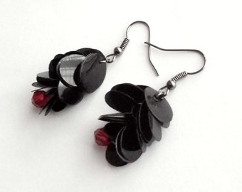 SALE Red and black earrings made of recycled plastic gothic earrings sustainable jewelry upcycled earrings eco jewellery goth earrings