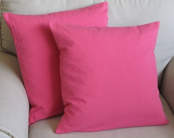 bubblegum pink cotton duck pillow covers