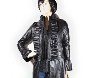 Victorian Genuine Leather Coat / Versatile Black Leather Jacket  by  Legsi