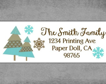 Christmas Return Address Labels, Christmas Stickers- Christmas Trees Snowflakes