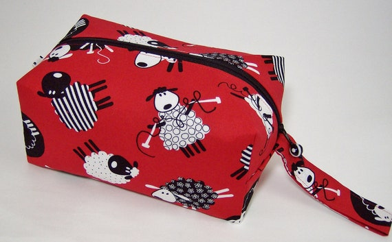 Small Zippered Project Bag - Striped and Dotted Knitting Sheep