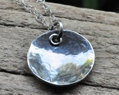 Rustic Artisan Metal Clay Jewelry Silver Hammered Round Pendant Large Hammered Pendant with Sterling Silver Eyelet and Textured Chain