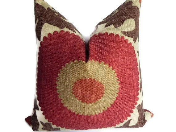 Suzani BOTH SIDES 20X20 Fahri Pillow Cover Designer Home Decor Fabric-Throw Pillow-Accent Pillow-Living Room Pillow-Red