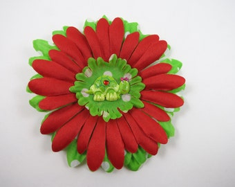 Turtle Hair Bow - Green and Red Flower Hair Clip - Polka Dot Flower Hair Bow - Flower Hair Clip