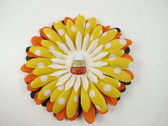 Candycorn Flower Hair Clip - Halloween Hair Bow - Orange Brown Yellow Hair Bow - Halloween Flower Clip