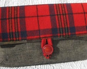 Pendleton Wool Foldover Clutch Red Plaid Repurposed