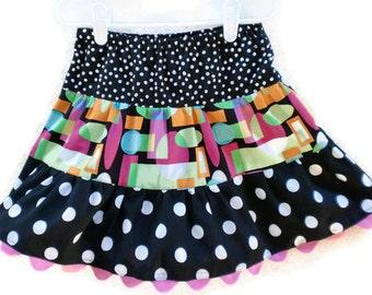 Polka Dot Skirt, Toddler Skirt, Girls Skirts, Little Girl Skirt, Handmade Skirt, 3 Tiered Skirt, Twirl Skirt