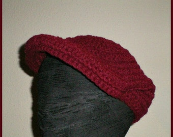 The THINKING MAN'S Cap - Burgundy -  Crochet Kangol style cap, newsboy, golf, driver hat - Made to Order