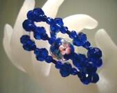 Dark Blue Flower Crystal Glass Memory Wire Cuff Handmade Bracelet by JulieDeeleyJewellery on Etsy