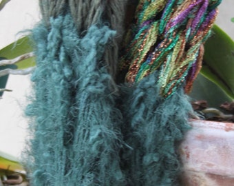 SALE Hand Knit  Scarf in Multi Textures and Colors of Yarn in  Greens, Gold,  made of Bulky Yarn