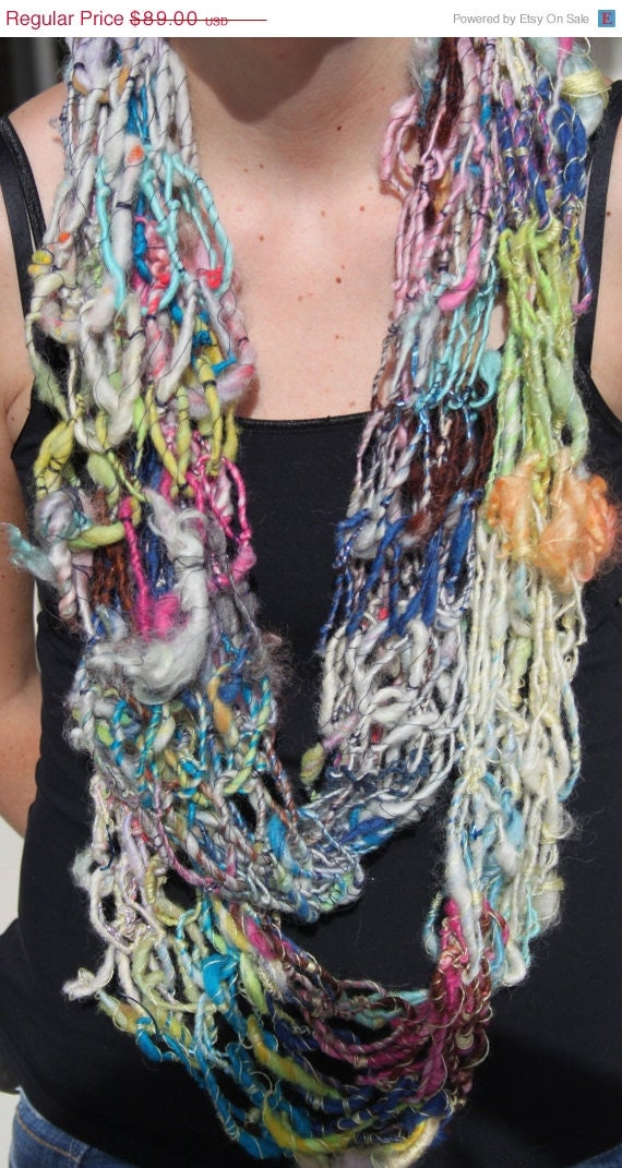 SALE Hand Knit Infinity Scarf , in Multi Color, Handspun Raw Wool, Very Beautiful