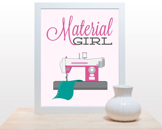 Wall Decor Craft Room : Items similar to sewing craft print material girl poster