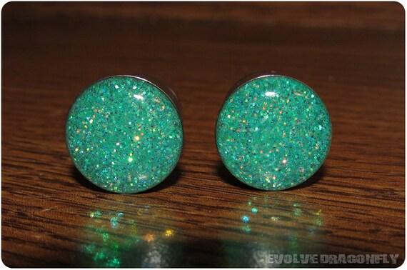 Seafoam Glitter Plugs - 2g, 0g, 00g, 7/16, 1/2, 9/16, 5/8, 3/4, 7/8, 1 Inch