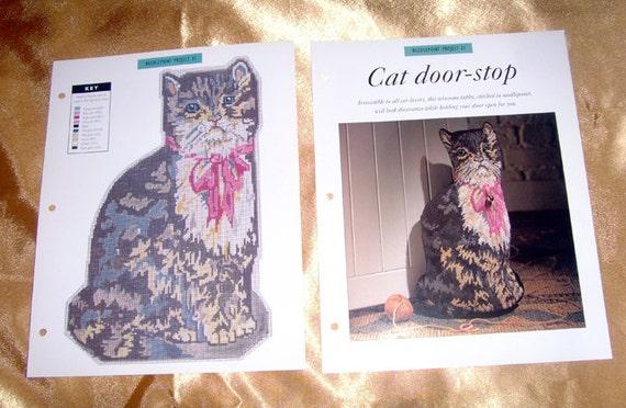 Items Similar To Needlecraft Needlepoint Cat Door Stop
