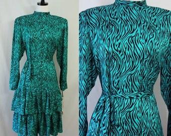 Vintage Party Dress Wild Green Zebra Silk 80's